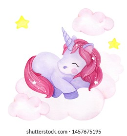 Cute sleeping unicorn on pink cloud, watercolor hand draw illustration for baby, isolated on white background