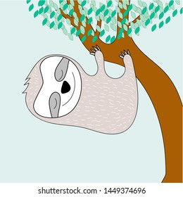 cute sloth animal for design and print
