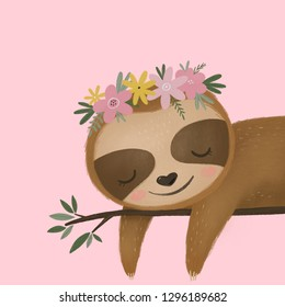 Cute sloth illustration. Sloth baby girl spring poster. Cute sloth and flowers
