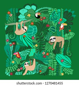 Cute sloths hanging on jungle trees. Hand drawn adorable animal illustration. Rainforest illustration. Funny sloth, toucan, flowers, leaves. For paper, kids, room decor