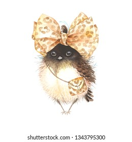 Cute small bird with accessories bow and handbag in leopard print, fantasy watercolor illustration.