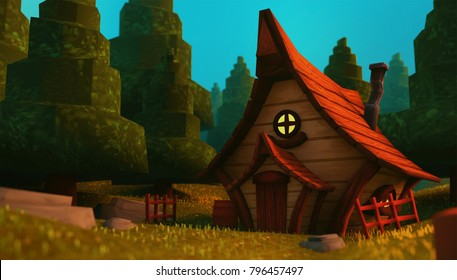 a cute small brown fantasy forest hut/house in a forest with a blue sky - 3D Illustration