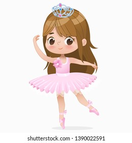Cute Small Brown Hair Girl Ballerina Dance Isolated. Caucasian Ballet Dancer Baby Princess Character Jump Motion. Elegant Doll wear Pink Tutu Dress. Beautiful Kid Flat Cartoon  Illustration.