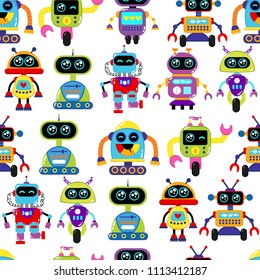A cute, small, friendly blue with a red robot, with antennas and wires, kind vintage eyes and comic style inscriptions. Abstract seamless robot pattern for girls or boys. Creative robot pattern