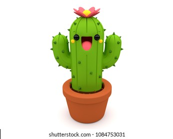 Cute smiling 3D cactus character with a pink flower on top of its head, inside a flowerpot, on an isolated white background.