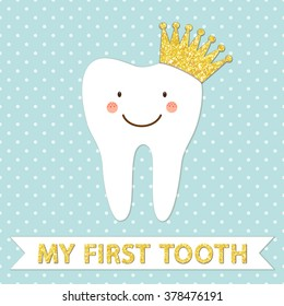 Cute smiling cartoon character of first baby tooth with golden glitter crown