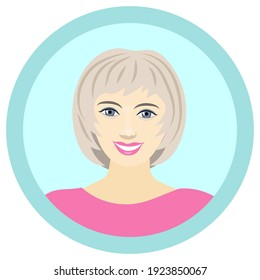 cute smiling girl. the blonde. character. avatar. portrait. drawing in color by hand. round sticker.