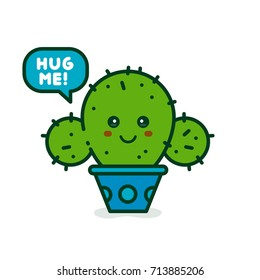 Cute smiling happy cactus say hug me. modern line outline flat style cartoon character illustration. Isolated on blue background.Concept creative card