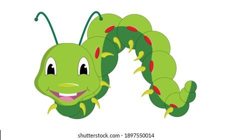 cute smiling happy Caterpillar Art