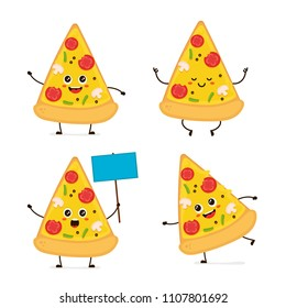 Cute smiling happy funny cute pizza slice set. modern flat style cartoon character illustration.Isolated on white background.Pizza slice concept. Run,meditation,stands with a sign