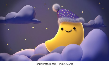 Cute smiling moon at night. Concept of sweet lullaby theme. 3d rendering picture.