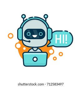 Cute smiling robot, chat bot say hi. modern line outline flat style cartoon character illustration. Isolated on white background.Speak bubble. Voice support, virtual online help support concept