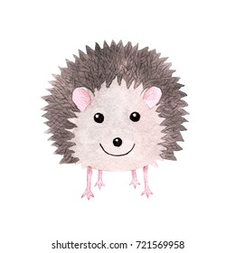Cute smiling watercolor hedgehog