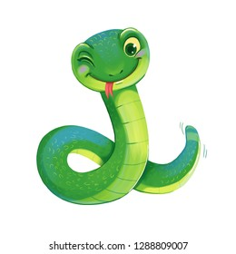 Cute Snake. Symbol of the Chinese New Year. Funny cartoon character. Isolated on white background. Hand-drawing Illustration