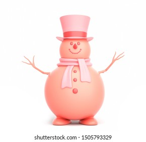 Cute snowman on the white background. 3D illustration