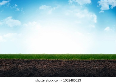 Cute soil and grass in meadow. 3d illustration