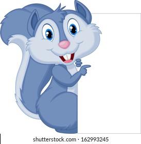 Cute squirrel cartoon holding blank sign
