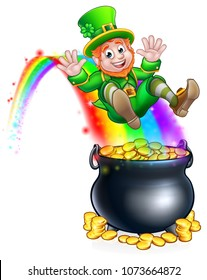 A cute St Patricks day leprechaun cartoon character sliding on rainbow into a pot of gold