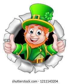 A cute St Patricks Day Leprechaun cartoon character breaking through the background and giving a thumbs up