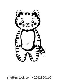 かわいいストライプの子猫、虎の赤ちゃん、甘い小さな動物イラスト、白黒の猫の絵