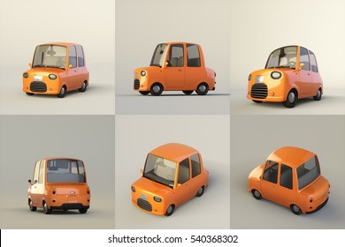 Cute stylized orange cartoon car isolated on a light background. 3d rendering illustration set of six different views