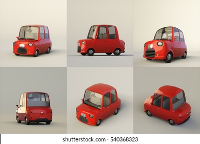 Cute stylized red cartoon car isolated on a light background. 3d rendering illustration set of six different views