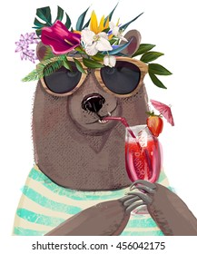 cute summer cartoon bear