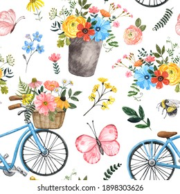 Cute summer floral seamless pattern. Watercolor flowers, leaves, blue bicycle, butterflies on white background. Shabby chic country style print. Nursery design. Hand drawn design texture