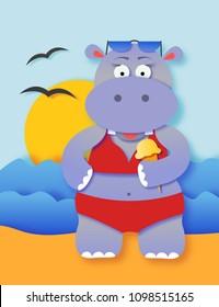 Cute summer hippo girl on a beach cartoon illustration