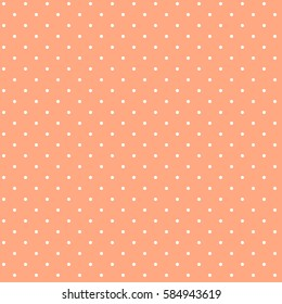 Cute sweet light salmon tile pattern or textures set with white polka dots on colorful background for desktop or phone wallpaper.