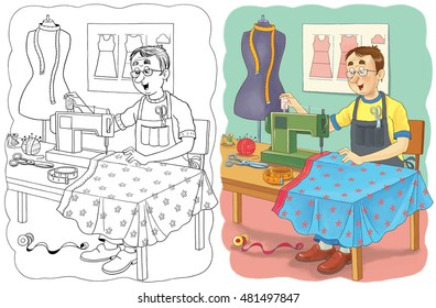 A cute tailor sewing a beautiful dress. Book about professions. Illustration for children. Coloring book. Coloring page. Funny cartoon character.