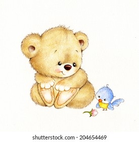 Cute Teddy bear and bird