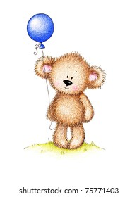 Cute teddy bear with blue balloon on white background