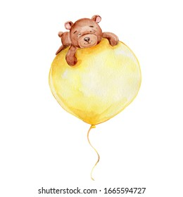 Cute teddy bear flying on the yellow balloon; watercolor hand draw illustration; can be used for baby shower or card; with white isolated background
