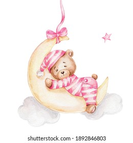 Cute teddy bear girl sleeping on the moon; watercolor hand drawn illustration; can be used for baby shower or postcard; with white isolated background