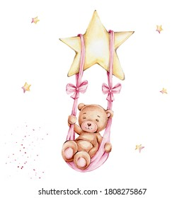 Cute teddy bear girl swinging on a swing on a star; watercolor hand draw illustration; can be used for baby shower or kid poster; with white isolated background
