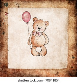 Cute teddy bear holding pink balloon on grunge background