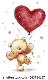 Cute Teddy Bear in love with big red heart balloon. Valentines day postcard design.