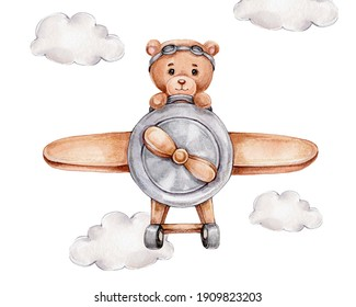 Cute teddy bear on airplane; watercolor and colored pencils hand drawn illustration; can be used for kid poster or card; with white isolated background