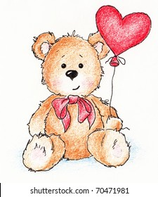 Cute teddy bear with red heart balloon on white background