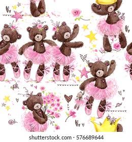 cute teddy bear seamless pattern. watercolor illustration cartoon ballerina.