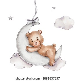Cute teddy bear sleeps on the moon; watercolor hand drawn illustration; can be used for baby showers or postcards; with white isolated background