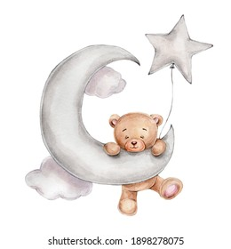 Cute teddy bear with star balloon on the moon; watercolor hand drawn illustration; can be used for kid poster or card; with white isolated background