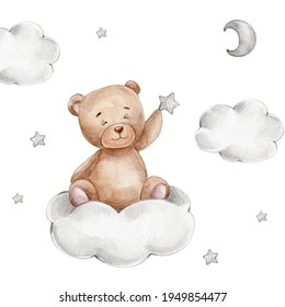 Cute teddy bear with star sits on the cloud; watercolor hand drawn illustration; can be used for baby shower or kid posters; with white isolated background