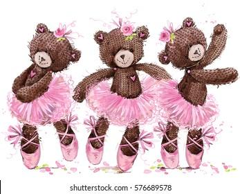 cute teddy bear watercolor illustration. cartoon ballerina.