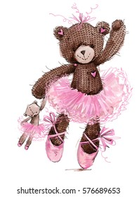 cute teddy bear watercolor illustration. cartoon ballerina.