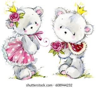 Cute teddy bear watercolor illustration. Birthday cart.