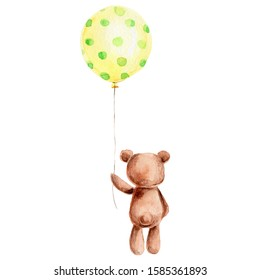 Cute teddy bear with yellow balloon; watercolor hand darw illustration; with white isolated background