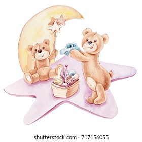 Cute Teddy Bears playing with toys on a star and moon background. Hand drawn watercolor illustration on a white background