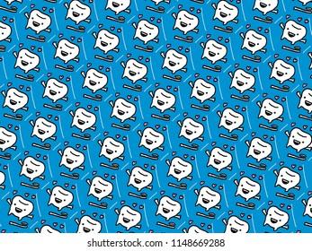 Cute teeth cartoon pattern in seamless style